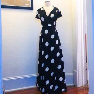 Eva Mendes for NY&Co. Polka Dot Maxi Dress in M